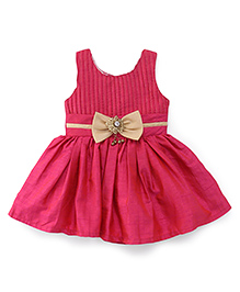 Babyhug Sleeveless Party Wear Frock With Bow Applique At Waistband - Pink