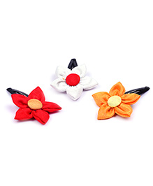 Knotty Ribbons Set Of Three Handmade Flower Hair Clips - Red White & Mustard