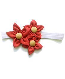 Knotty Ribbons Handmade Three Flower Bunch Headband - Red