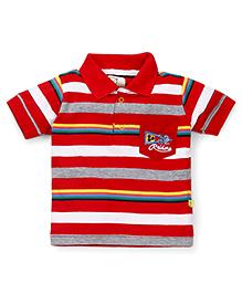 Olio Kids Half Sleeves T-Shirt Stripes Print - Red