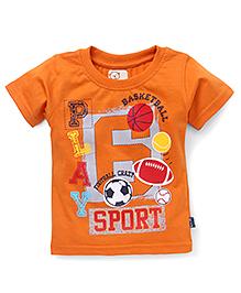 Olio Kids Half Sleeves Tee Printed - Orange