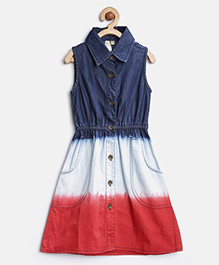 Stylestone Collar Neck Denim Tricolor Washed Dress - Navy Blue
