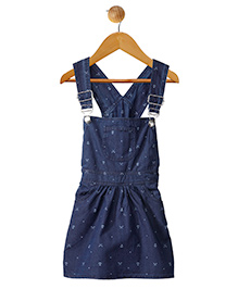 Stylestone Mini Knife & Anchor Printed Denim Dungaree Skirt Dress - Blue