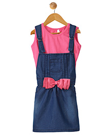 Stylestone Pleated Denim Dungaree Skirt Dress With Bow Applique & Top - Blue & Pink