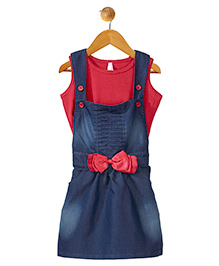 Stylestone Denim Dungaree Dress With Bow Applique & Top - Blue & Red