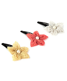 Knotty Ribbons Set Of Three Handmade Flower Hair Clips - Golden Red & Silver