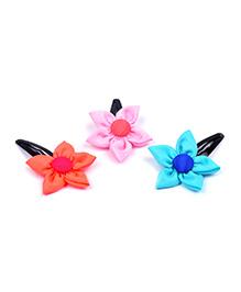 Knotty Ribbons Set Of Three Handmade Flower Hair Clips - Pink Orange & Yellow