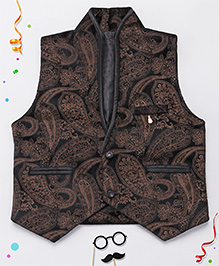 Babyhug Party Wear Sleeveless Jacket With Self Design - Brown