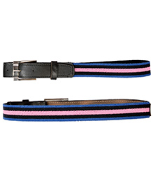 Miss Diva Strectchable Striped Belt With Leather Front - Royal Blue Navy Blue & Pink