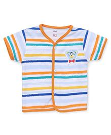 Simply Short Sleeves Stripe Vest - White Orange
