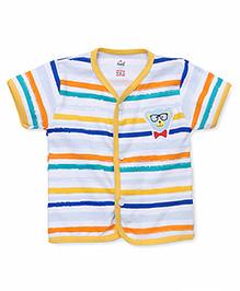 Simply Short Sleeves Stripe Vest - White Yellow