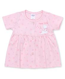 Simply Short Sleeves Front Open Frock Star & Teddy Print - Pink
