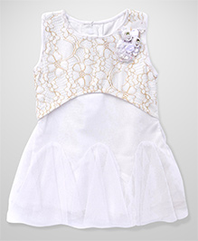 Chocopie Frock With Flower Applique - Cream And White