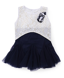 Chocopie Frock With Flower Applique - Navy And White