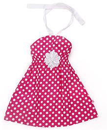 Chocopie Halter Neck Frock Polka Dots Print - Pink