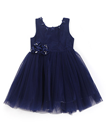 Chocopie Sleeveless Partywear Frock With Floral Motifs - Navy