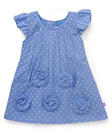 Chocopie Flutter Sleeves Frock Floral Motifs - Blue