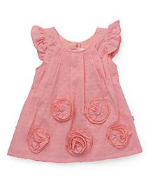 Chocopie Flutter Sleeves Frock Floral Motifs - Peach