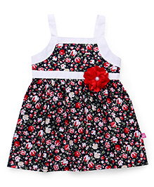 Chocopie Sleeveless Frock Floral Print - White & Red