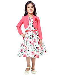 Tiny Baby Box Pleat Floral Printed Dress With A Separate Jacket - Peach