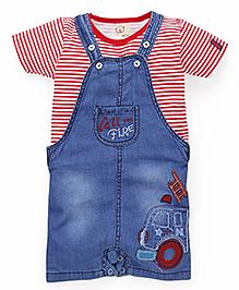 Olio Kids Dungaree With Half Sleeves Inner T-Shirt - Red & Medium Blue