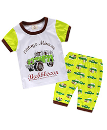 Mauve Collection Jeep Printed T-Shirt With Pants - White & Green
