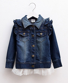 Mauve Collection Full Sleeves Denim Shirt With Net - Blue