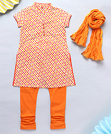 NeedyBee Jaipuri Handblock Printed Kurta & Leggings Set With Dupatta - Orange