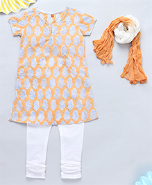 NeedyBee Jaipuri Handblock Printed Kurta & Legging Set With Dupatta - Orange & White
