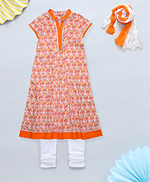 NeedyBee Anarkali Kurta & Leggings Set With Gota Work - Orange