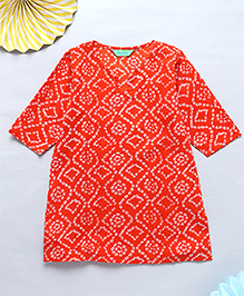 NeedyBee Bandhani Printed Kurta - Orange