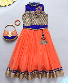 NeedyBee Ethnic Gown Dress With Bracelet And Purse - Orange