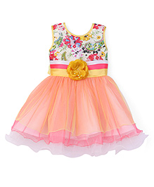 Eiora Multi Layered Dress With Floral Printed Bodice - Peach & Multicolour