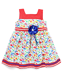 Eiora Sleeveless Casual Dress With Flower Attached - Red