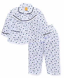 Yellow Duck Full Sleeves Night Suit Strawberries Print - Blue And White