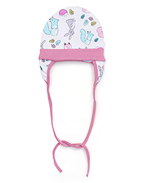 Ben Benny Cover Ear Cap Animal Print - Pink And White