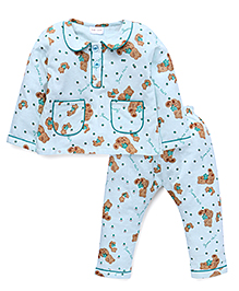 Kids Lane Teddy Flannel Night Suit With Pockets - Mint Green