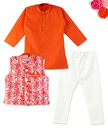 BunChi Kurta Pyjama Set With Batik Waistcoat - Red