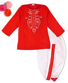 BunChi Embroidered Dhoti Kurta - Red