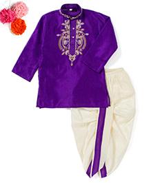 BunChi Embroidered Dhoti Kurta - Purple