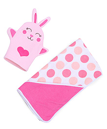 Mothers Choice Hooded Towel With Wash Mittens - Pink And White