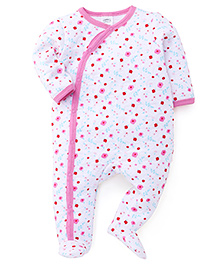Mothers Choice Full Sleeves Footed Sleepsuit Floral Print - White Pink