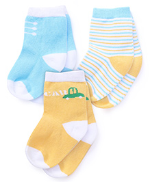 Mustang Ankle Length Socks Car Design Pack Of 3 - Blue Yellow Multicolor