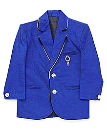 Babyhug Party Blazer With Brooch On Pocket - Blue