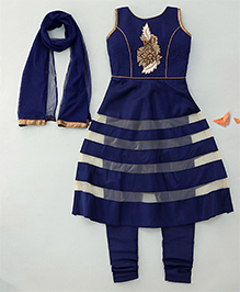 Enfance Princess Cut Solid & Net Patch Flared Anarkali Set - Blue