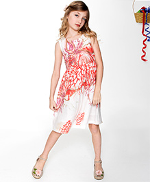 Yo Baby Abstract A-Line Dress - White & Red