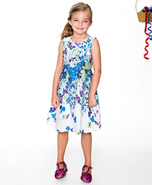 Yo Baby Multiprinted A-Line Dress - Blue & Ivory