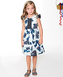 Yo Baby Floral Pin Tucked Bodice Flutter Sleeve Dress - Navy & Ivory