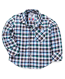 Oks Boys Full Sleeves Checks Shirts - Blue