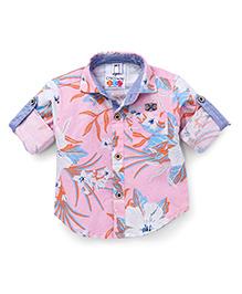 Oks Boys Full Sleeves Floral Print Shirt - Light Fuchsia